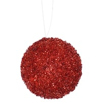 "3ct Berry Red Sequin and Glitter Drenched Christmas Ball Ornaments 4.75"" (120mm)"