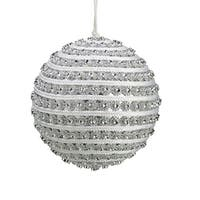 "4.5"" Glitzy and Glamorous Spiral Silver Rhinestone Christmas Ball Ornament"