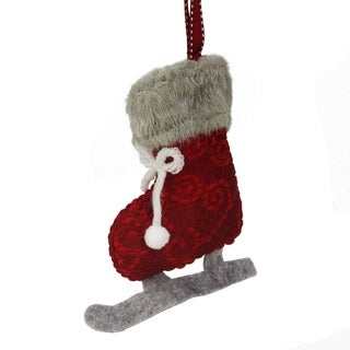 "5.5"" Red and Gray Plush Knit Ice Skate Christmas Ornament"