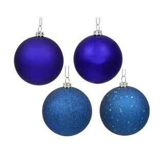 "60ct Shatterproof Royal Blue 4-Finish Christmas Ball Ornaments 2.5"" (60mm)"