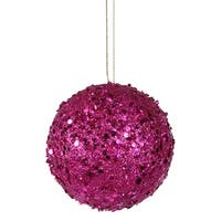 Fancy Fuschia Pink Holographic Glitter Drenched Christmas Ball Ornament 3""