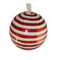 "5"" Peppermint Twist Red & White Candy Cane Stripe Sequin Christmas Ball Ornament"