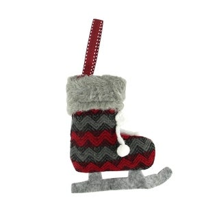 "5.5"" Red and Black Chevron Plush Knit Ice Skate Christmas Ornament"