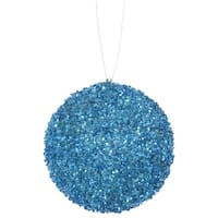 """3ct Turquoise Blue Sequin and Glitter Drenched Christmas Ball Ornaments 4.75"""" (120mm)"""