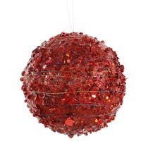 """4"""" Red Sparkle Glitter and Sequin Kissing Christmas Ball Ornament"""