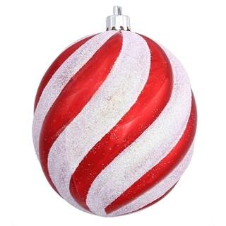 "Peppermint Twist Candy Cane Spiral Shatterproof Oval Ball Ornament 4"""