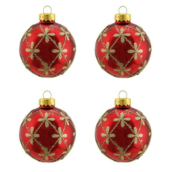 4ct shiny red with gold flower design glass ball christmas ornaments 25 - Overstock Christmas Decorations