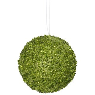 """6ct Lime Green Sequin and Glitter Drenched Christmas Ball Ornaments 3"""" (80mm)"""