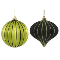 "9ct Lime Green & Black Glitter Striped Shatterproof Christmas Onion and Ball Ornaments 4"" (100mm)"