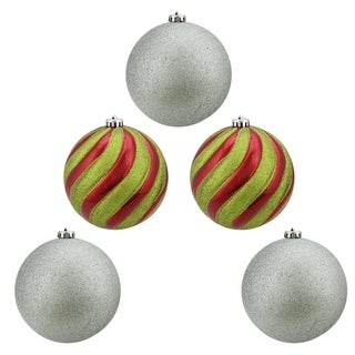 """5ct Shiny Red, Green and Silver Glitter Shatterproof Ball Christmas Ornaments 6"""" (150mm)"""