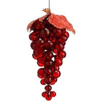 "6"" Tuscan Winery Red Faux Crystal Grape Cluster with Leaves Christmas Ornament"