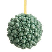 "5.5"" Regal Peacock Seafoam Green Textured Glitter Ball Decorative Christmas Ornament"