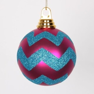 """Cerise Pink Matte and Turquoise Blue Glitter Chevron Shatterproof Christmas Ball Ornaments 4""""(100mm)"""