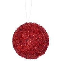 """4ct Berry Red Sequin and Glitter Drenched Christmas Ball Ornaments 4"""" (100mm)"""