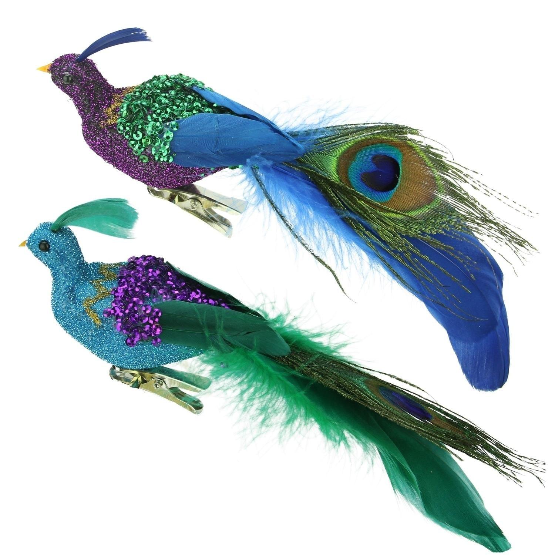 "8"" Regal Peacock Purple, Green and Blue Sequins Bird Clip..."