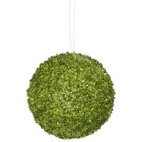 "3ct Lime Green Sequin and Glitter Drenched Christmas Ball Ornaments 4.75"" (120mm)"