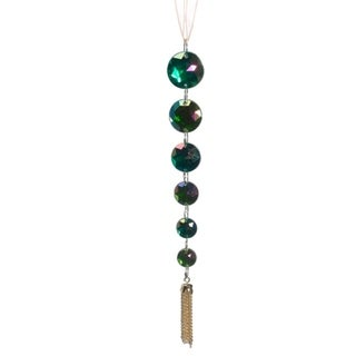 "7"" Regal Peacock Iridescent Green Jewel Pendant Christmas Ornament"