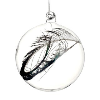 "3.25"" Regal Peacock Clear Glass Christmas Ball Ornament with Faux Feather"