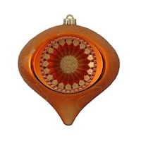 "Orange & Gold Retro Reflector Shatterproof Christmas Onion Ornament 8"" (200mm)"