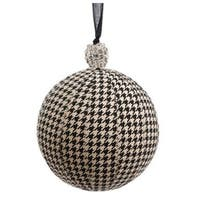 "Black & Beige Houndstooth w/ Rhinestone Cap Commercial Size Christmas Ball Ornament 6"" (150mm)"