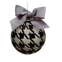 """4.75"""" Gray and Black Pied-A-Poule Glass Ball Christmas Ornament"""
