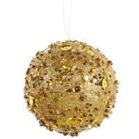 "Gold Sparkle Kissing Christmas Ball Ornament 4"" (100mm)"
