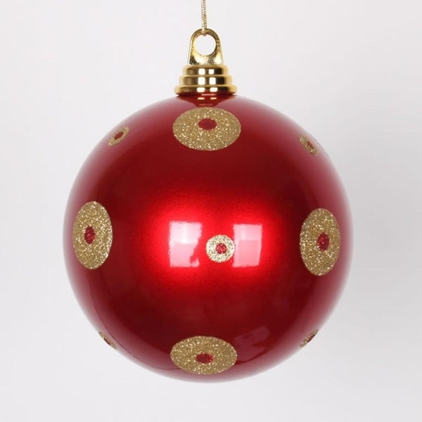 candy apple red with gold glitter polka dots commercial size christmas ball ornament 6