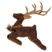"6.5"" Metallic Beaded Reindeer Christmas Ornament"