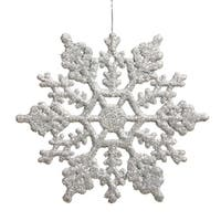 Club Pack of 24 Shimmering Silver Glitter Snowflake Christmas Ornaments 3.75""