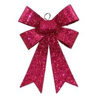 """7"""" Cerise Pink Sequin and Glitter Bow Christmas Ornament"""