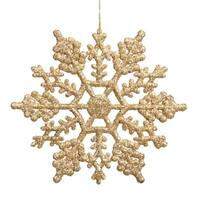 """Club Pack of 24 Shimmering Gold Glitter Snowflake Christmas Ornaments 3.75"""""""