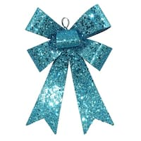 """7"""" Turquoise Blue Sequin and Glitter Bow Christmas Ornament"""