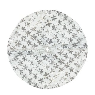 """20"""" Decorative White and Silver Sequin Snowflake Pattern Mini Christmas Tree Skirt"""
