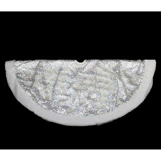 "48"" Shiny Silver Holographic Sequined Christmas Tree Skirt with White Faux Fur Trim"