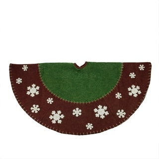 """48"""" Country Red and Green Christmas Tree Skirt with Snowflake Appliques"""