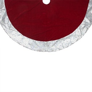 "48"" Rich Red Velvet Silver Disco Sequin Bordered Christmas Tree Skirt"