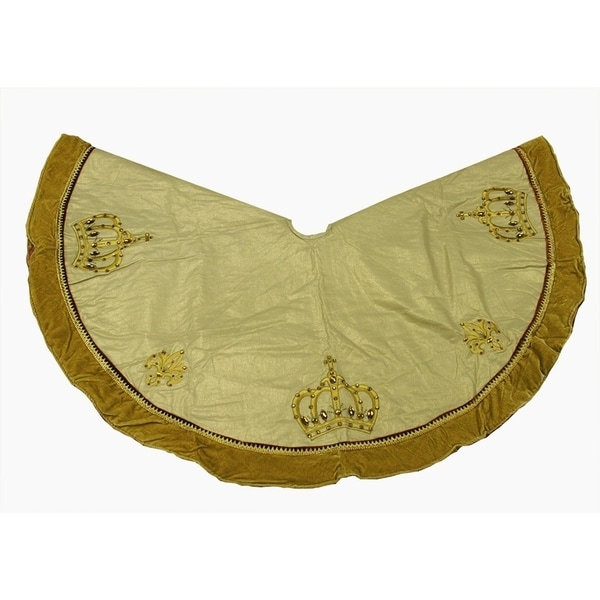 54 Royal Symphony Jeweled Fleur De Lis Gold Christmas Tree Skirt