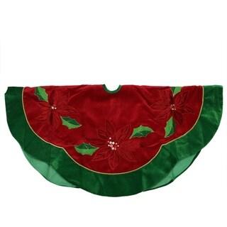 "48"" Red Sequined Poinsettia Christmas Tree Skirt with Green Velveteen Trim"