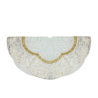 """48"""" White Sequin and Metallic Silver and Gold Ombre Flourish Scallop Christmas Tree Skirt"""