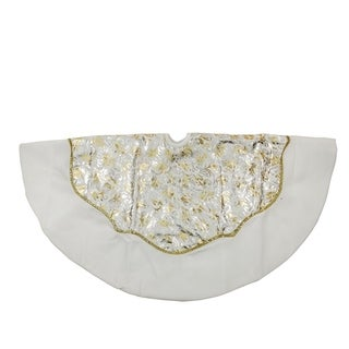 """48"""" Gold and Silver Flourish Christmas Tree Skirt with White Velveteen Trim"""