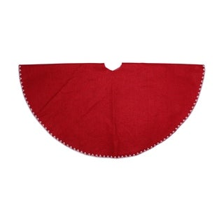 "26"" Christmas Traditions Cardinal Red with White Shell Stitching Mini Christmas Tree Skirt"