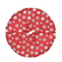 "20"" Red and White Snowflake Design on Sheer Organza with Silver Glitter Mini Christmas Tree Skirt"