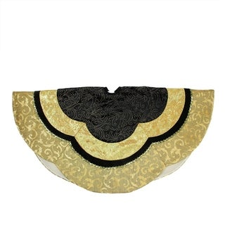 "48"" Black and Gold Embossed Velvet, Silk, Brocade and Metallic Trim Scallop Christmas Tree Skirt"