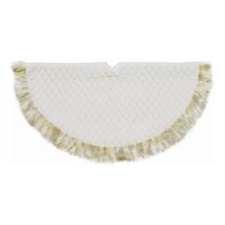 "48"" Quilted Cream White Velvet Christmas Tree Skirt with Tan Faux Fur Border"