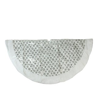 """60"""" Silver Sequin Snowflake with White Faux Fur Border Christmas Tree Skirt"""