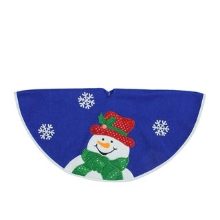 "20"" Blue and White Mini Christmas Tree Skirt with Embroidered and Embellished Snowman"