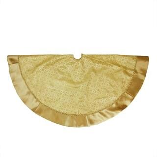 "48"" Gold Glitter Star Print Christmas Tree Skirt with Decorative Metallic Trim and Velveteen Border"