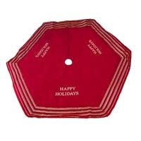 "56"" Red ""Happy Holidays"" Christmas Tree Skirt with Striped Trim"