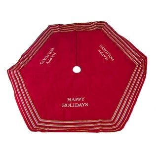 """56"""" Red """"Happy Holidays"""" Christmas Tree Skirt with Striped Trim"""