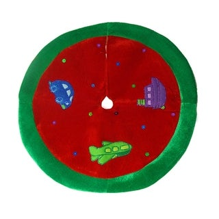 """20"""" Cute Red Car, Plane and Boat Mini Christmas Tree Skirt"""